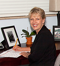 Pastor Karin at Her Desk