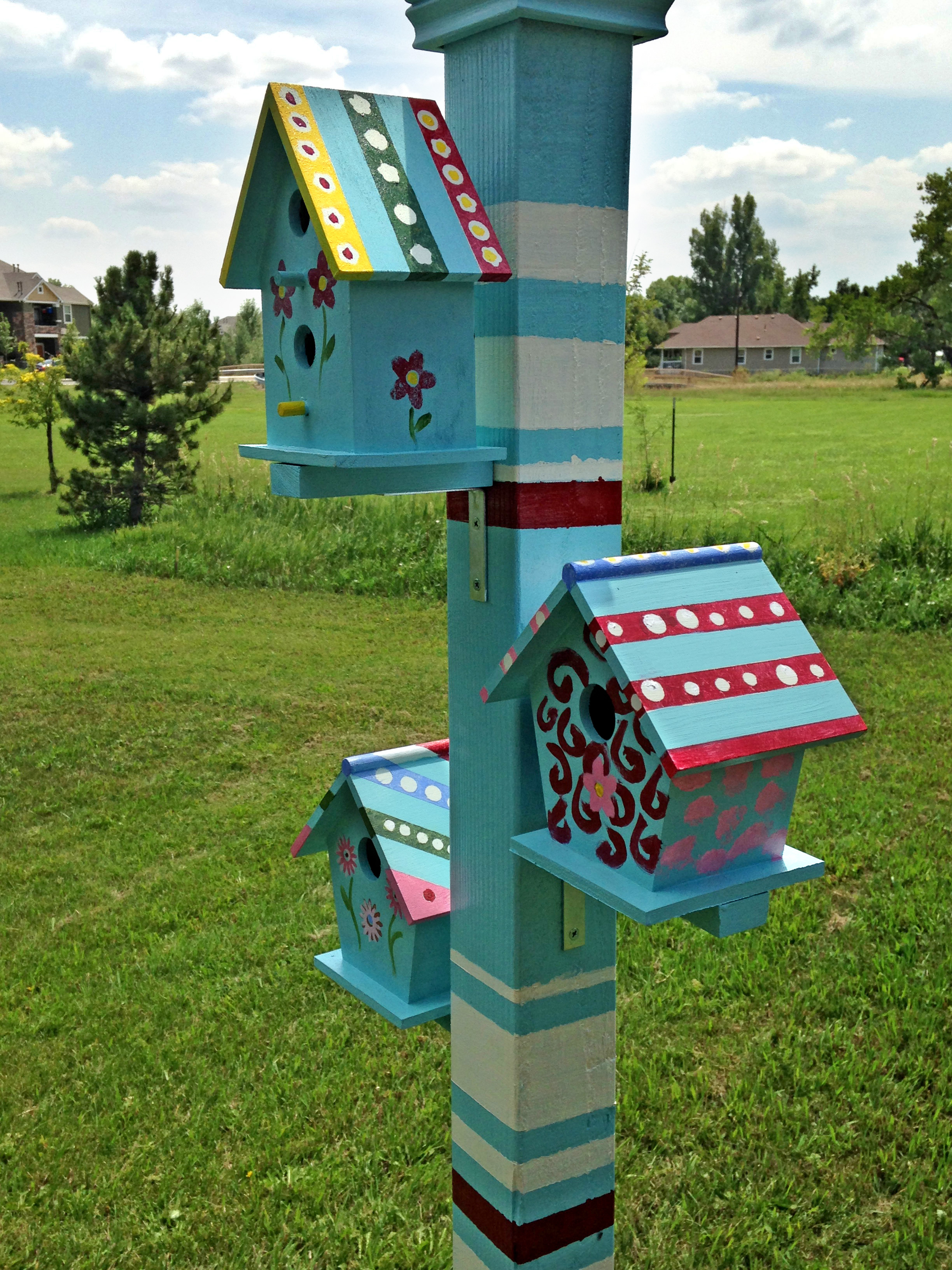 Bird houses built by Sunday School children.